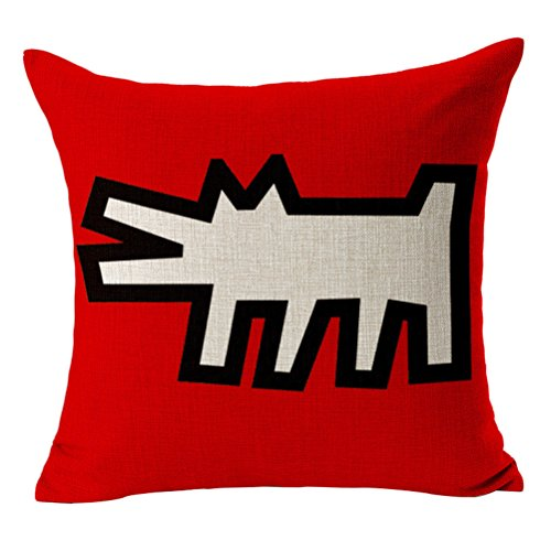 CosyDeal Throw Almohada Cover, Home Decorativo Moderno Keith Haring Abstract Graffiti de impresión Lino y Algodón Square Throw Almohada Cubierta cojín Case,...