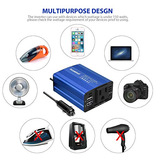 Buywhat 150W Car Power Inverter DC 12V to 110V AC Converter with 3.1A Dual USB Car Charger Adapter Blue