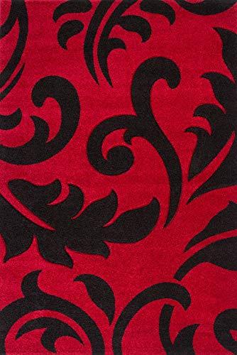 Lalee 347222681 Moderner Designer Teppich Muster Ranken Konturenschnitt Größe 160 x 230 cm, rot/schwarz