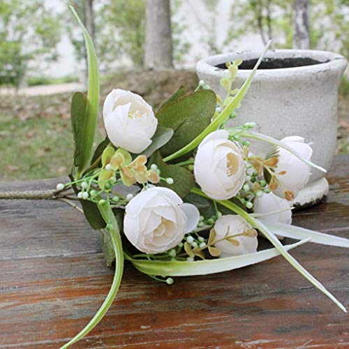 NevaraneStore brand with 10 flower he artificial silk flowers camellia roses bouquet wedding home oration flowers dried artificial