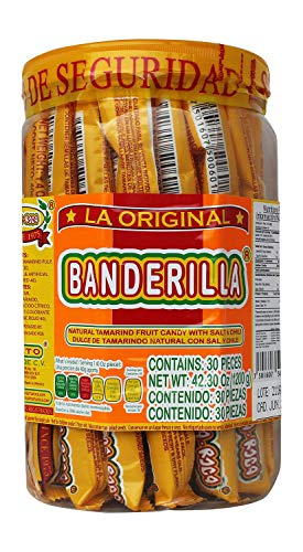 Banderilla Tama-Roca Tamarindo Mexican Candy Sticks. Contains 30 Pieces of Spicy Tamarind Candy With Salt And Chili. - SET OF 4