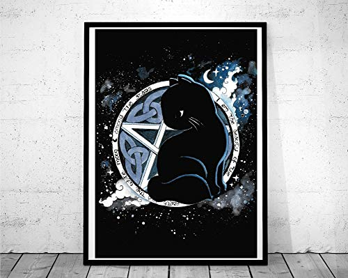 Aquarell Pentagram Katze Katzenposter Witchcraft Poster Print Salem Hexe Sabrina