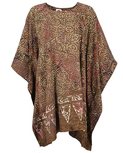 Guru-Shop Poncho, Tunika, Strandkleid, Batik Kaftan, Damen Übergröße, Braun, Synthetisch, Size:One Size, Blusen & Tunikas Alternative Bekleidung