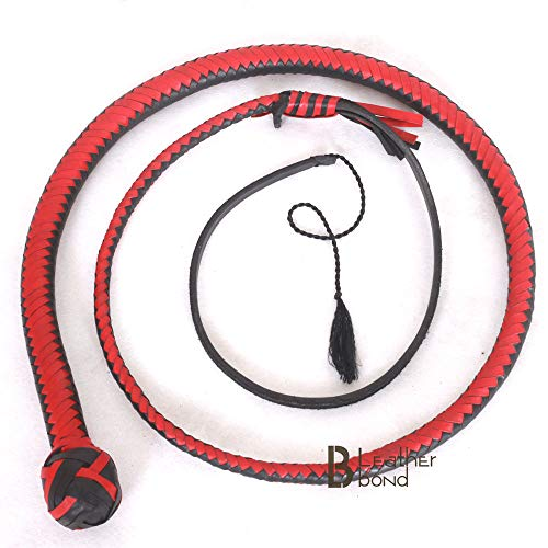Kangaroo Hide Leather & Shot Loaded Snake Whip 4, 5, 6 or 8 Feet 12 Strands Red Black (4)