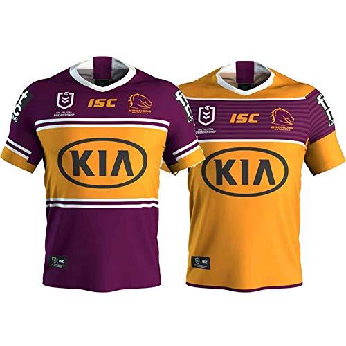 JUNBABY 2020 Brisbane Mustang Wild Horse Rugby Trikot Heim- und Auswärtsfußball-T-Shirt Herren-Yellow-S