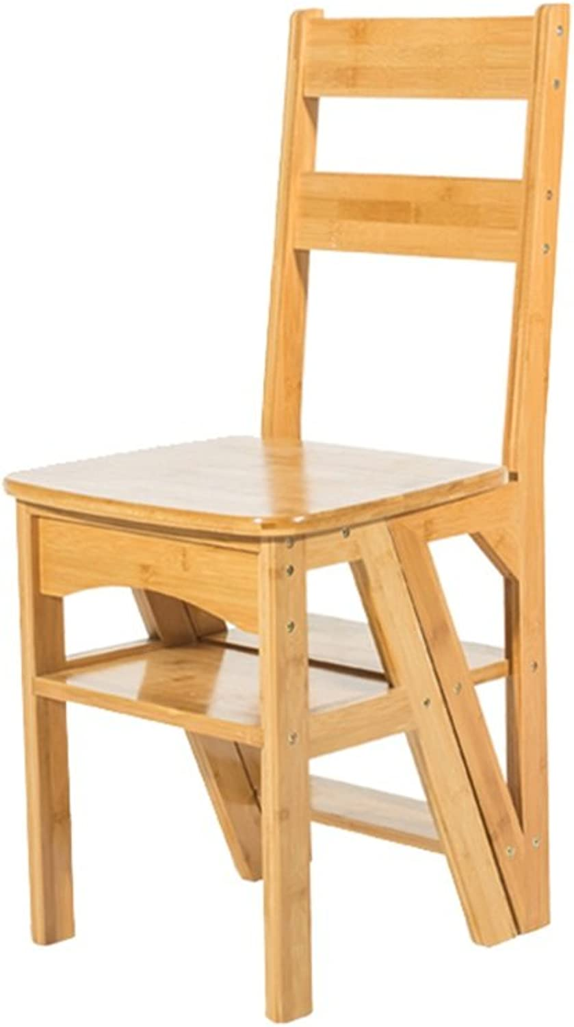 Chair Stool Dining Step Folding Creative Solid Wood Bench Home Multi-Function Four Step Ladder