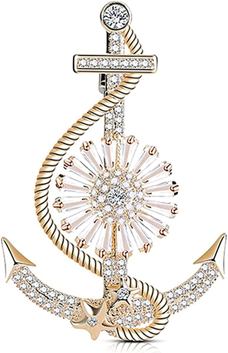 MultiLux Anchor Nautical Brooch Pin Anchor Rope Brooch Gold Shiny Cubic Zirconia Pins & Pendants Scarf Holders for Women Men
