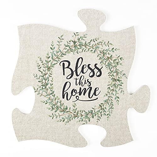 P. Graham Dunn Bless This Home Leaf Wreath 12 x 12 Wood Decorative Puzzle Piece Plaque