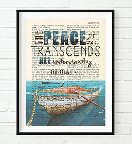 Vintage Bible Verse Scripture - The Peace of God Transcends All Understanding - Philippians 4:7 Art Print, Unframed, Rowboat Nautical Christian Wall & Home Decor Poster, Christmas Gift, All Sizes