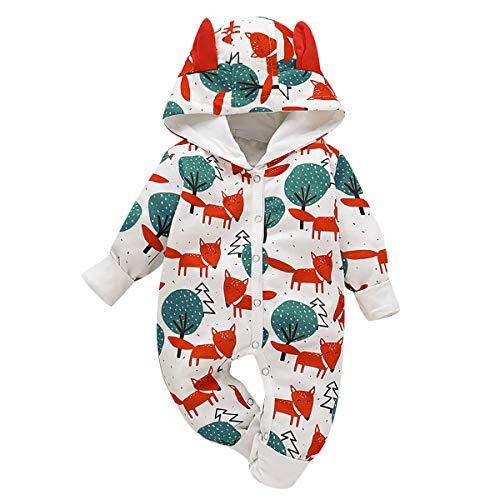 Borlai Baby Overall mit Kapuze und Tiermotiv, Baumwolle, [Füchse und Wald] 12-18 Monate, weiß
