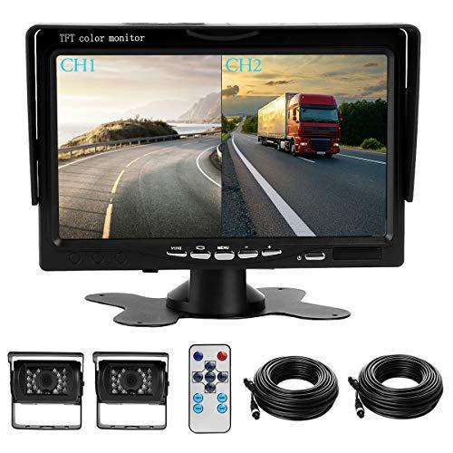 """Kit double caméra de recul avec écran LCD de 7"""" et deux caméras de recul grand angle de 170 °, étanche IP68, vision nocturne 18IR, pour camion, remorque, bus, camionnette, transport lourd (12-24 V)"""