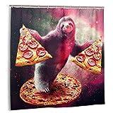Funny Space Faultier mit Pizza Duschvorhang 183 x 183 cm Wasserdichter Stoff Duschvorhang für Badezimmer Dekoration