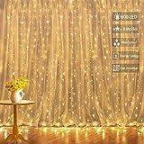 Cortina de Luces,6x3M 600LEDs Cadena de luces IP44 con 8 Modos Decoración de San Valentín blanca cálida,Adecuada para cortinas,Aleros, Fiestas,Jardín, Arboles, Navidad,Bodas, Barra de cortina
