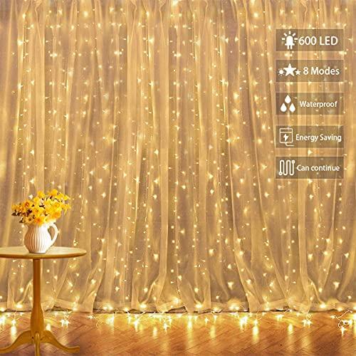 Rideau lumineux à Led, Guirlandes Lumineuses 6x3m 600 Led, 8 Modes de Clignotement, Decoration pour Chambre Noël Mariage Soirée Maison Jardin Patio chaude