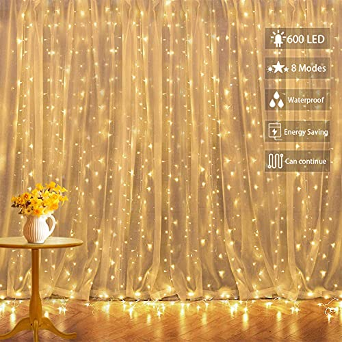 Tenda Luminosa Decorazioni San Valentino, Tenda Luci Led 6x 3 m 300 Led Impermeabilità Ip44 Cascata Luci con 8 Modalità di Illuminazione Decorazione di Nozze,Festa, Giardino,Cena
