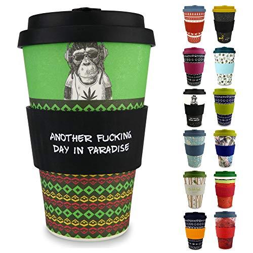 Morgenheld il tuo bicchiere di bambù alla moda | Coffee-to-Go bicchiere | bicchiere con coperchio in silicone e fascetta dal design futuristico da 400 ml - Chilling Jim