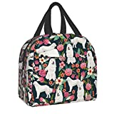 antkondnm Great Pyrenees Dog Insulated Lunch Bag Reusable Soft Flower Lunch Tote Purse Cooler for School, Work, Office