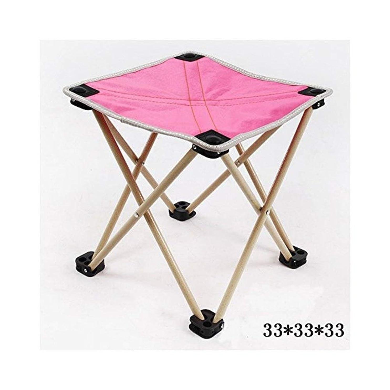 アサードーム観光に行くシンプルモダンステンレススチール折りたたみスツール/ポータブルキャンプビーチ釣りスツール/スツール絵画椅子マザール/折りたたみスモールチェアスツール/靴スツール FENPING (色 : ピンク)