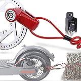 TUSNAKE Scooter Electrico Cerradura del Freno de Disco de Seguridad para Ptinete Electrico Bicis Carretilla Puertas Accesorios (Rojo)