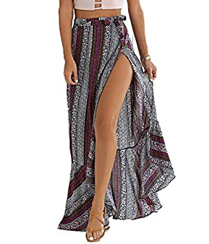 BIYOUTH Women s High-Waisted Boho Asymmetrical Hem Tie up Maxi Beach Skirt Gray-purple One Size