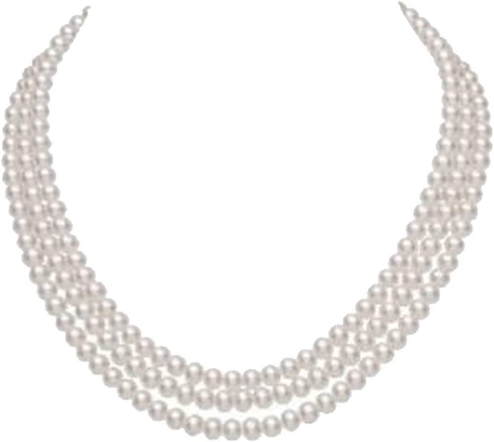 JYX 3-Row 8-9mm Rround Freshwater Cultured Pearl Necklace 16
