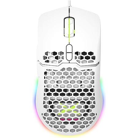 DeLux Souris de gaming ergonomique programmable 16,8 millions de couleurs RVB 16000 DPI pour PC portable 7 boutons 67 g Blanc