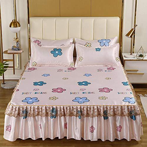 KIKIGO Conditioning Soft Mat,Summer Ice Silk Mat,Summer bed skirt cool mat, single double air conditioning soft seat-E_180*220cm three piece set
