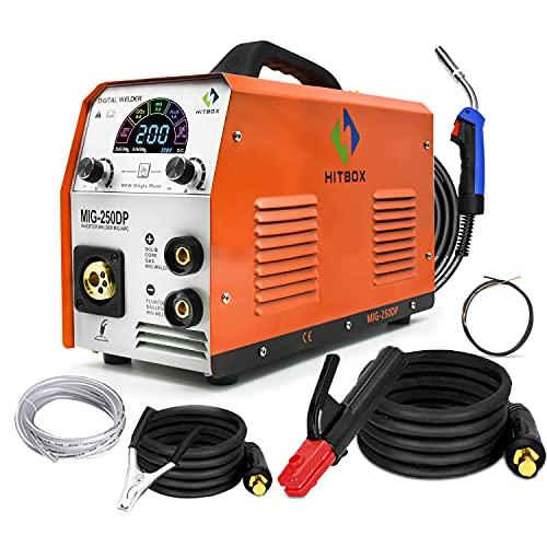 HITBOX Soldador MIG 120A 220V DC Mini inversor 40% Ciclo de trabajo Soldadura sin gas Máquina de soldadura con antorcha Mig Conexión a tierra 0.8mm Núcleo de flujo (MIG250DP)