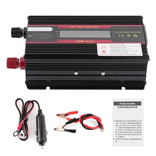 Inversor de coche, DC 12V a AC 220V 3000W Inversor de potencia máxima Pantalla LCD Convertidor de ondas sinusoidales modificadas