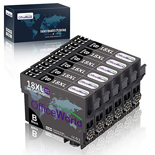 OfficeWorld Ersatz für Epson 18 18XL Schwarz Druckerpatronen Hohe Kapazität Kompatibel für Epson Expression Home XP-322 XP-412 XP-305 XP-312 XP-405 XP-425 XP-325 XP-225 XP-215