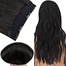 Fshine Hidden Crown Hair Extensions Remy Human Hair 20 Inch Halo Hair Extensions Silky Straight Off Black 80 Grams 10 Inch Width Invisible Wire
