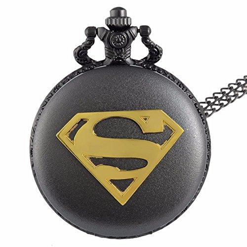 Superman Gold logo nero finitura anticato/vintage di uomo orologio da tasca al quarzo collana–Catena da 81,3cm pollici/80cm