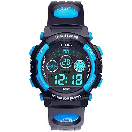 Reloj Digital para Niños,Niños Niñas 50M (5ATM) Impermeable 7 Colores LED Relojes Deportivos Multifuncionales para Exteriores con Alarma (Negro Azul)