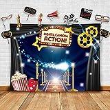 Hollywood – Fondo de fotografía con tema de película y accesorios de estudio, ideal como vestido y ceremonia de noche de premios, fondo de cabina de fotos, disfraz vintage, suministros de fiesta...