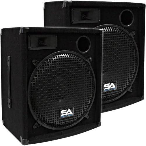 Seismic Audio Pair of 15 PA DJ Speakers 600 Watts PRO Audio Mains Monitors Bands Karaoke Churches product image