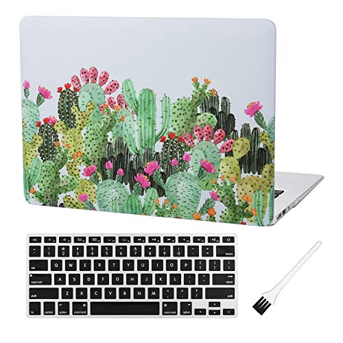 Laptop Hard Case MacBook Air 13 inch Case A1369 A1466 Matte Rubberized Plastic Hard Shell Cover (Old Version 2010-2017) with Silicone Keyboard Cover and Dust Brush (Cactus with red Flowers)
