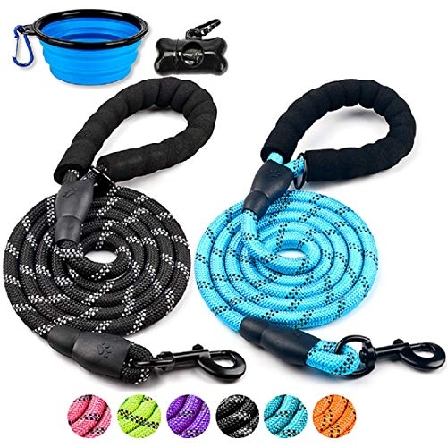 DOYOO 2 Pack Dog Leash 6 FT Thick Durable Nylon Rope - Comfortable Padded Handle Reflective Rope Dog Leash for Medium Large Dogs with Collapsible Pet Bowl and Garbage Bags (Blue + Black)