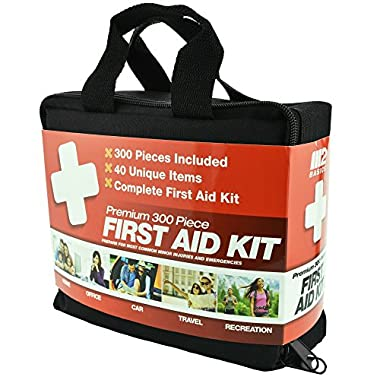300 Piece (40 Unique Items) First Aid Kit w/Bag by M2 Basics + FREE First Aid Guide | Emergency Medical Supply | For Home, Office, Outdoors, Car, Camping, Travel, Survival, Workplace