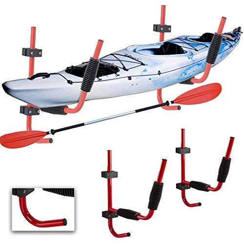 Nee hoor. 32 Heavy Duty Steel Kayak Wandrek voor 100 pond kajak | Ladder Wandmontage Opvouwbare Opslagrek past Indoor Outdoor Opslag Kayak | Surfboard and Sailing