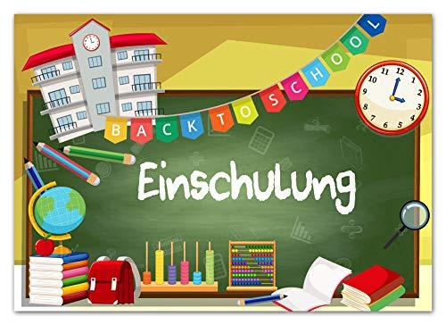 monte Einschulung Einladungskarten mit Umschlägen (12er Set) liebevoll gestaltet zum Schulanfang Schultüte Mädchen Junge Einladungen für Kinder zum Schulbeginn
