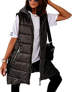 Cnkwei Womens Hooded Outwear Vest Lightweight Cotton Padded Zip-Up Winter Warm Gilet