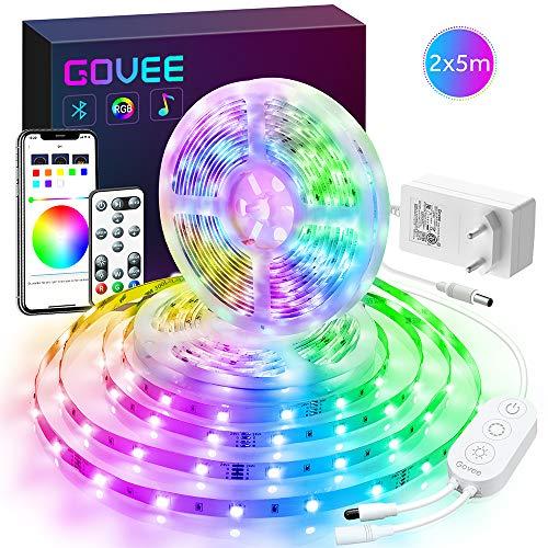 Govee 2 x 5m RGB LED Streifen Lichtband mit 3 in 1 App, Fernbedienung und Steuerbox, Selbstklebend LED Strip Beleuchtung Full Kit mit DIY-Timer-Einstellung für Zuhause, Schlafzimmer, TV, Schrankdeko