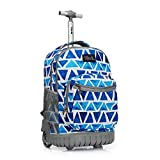Tilami Rolling Backpack 19 inch Wheeled LAPTOP Boys Girls Travel School Student Trip, triangles