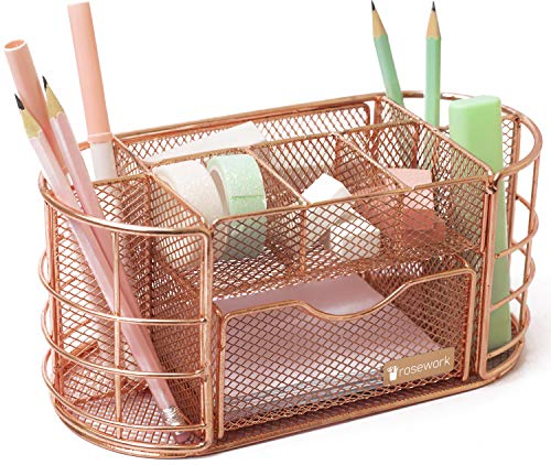 Rosework Rose Gold Desk Organizer - Pen Holder For Desk, All In One Mesh Desk Organizer, Comes with Desk Drawer, Pen Holder and Pencil Holder, Great For Home Office And Rose Gold Desk Accessories