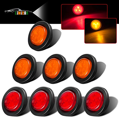 "LIMICAR 8PCS 2"" Round LED Clearance Light 2 in 1 Reflector Side Marker Light for Truck Trailer [Polycarbonate Reflector] [4 LEDs] [Rubber Grommet] Red"