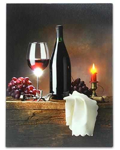 Wein Kunstdruck auf Leinwand mit LED-Lichtern, Wein Bild mit leuchtenden Kerze–Wein Glas, Wein Flasche, Serviette, Trauben, Kork und Flaschenöffner–40,6x 30,5cm