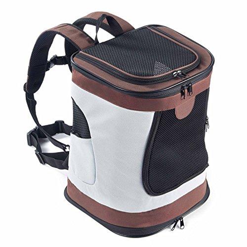 PETTOM Mochila para Perro Gatos Conejo Transpirable Plegable Pet Backpack para Mascotas de Peso hasta 8 kg Transportín con Fondo Rígido Viaje Aero Tren Trekking Bici Moto Marrón