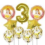 JSJJAUA Globos 9pcs Bella y la Bestia de Aluminio de 30 Pulgadas Globos Decoraciones de la Fiesta de cumpleaños número Globo Globos Princesa de la Muchacha (Color : 3)