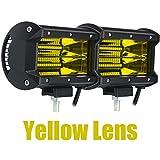 HWH Motocicleta L.E.D Luces de Niebla 5 Pulgadas 72W Fila Doble Off Troad Driving Car Light Bar 6000k Universal para ho.n.da ka.WA.sa.ki ya.ma.ha he.RL.EY Durable (Color : Yellow)