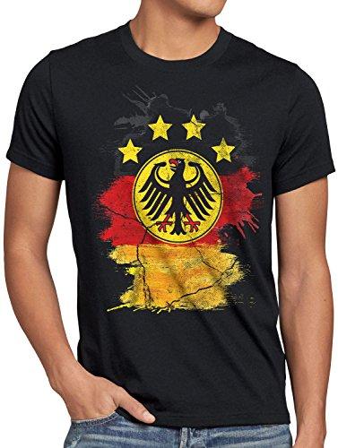 style3 Deutschland Wappen EM 2020 Herren T-Shirt Fußball Europameisterschaft Trikot Germany Bundes-Adler WM, Größe:L, Farbe:Schwarz